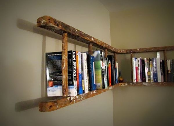 An easy way to create a shelf is from some old ladders. It's nice and rustic looking. But it's super easy and a cute way to style your books.