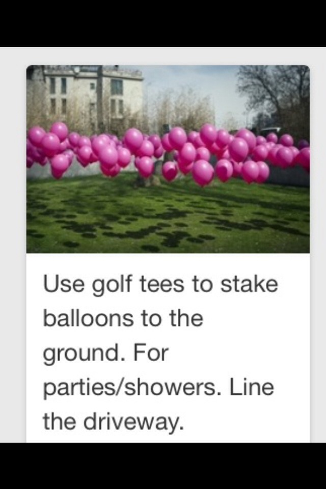 Use fishing line and golf tees to keep your balls in place