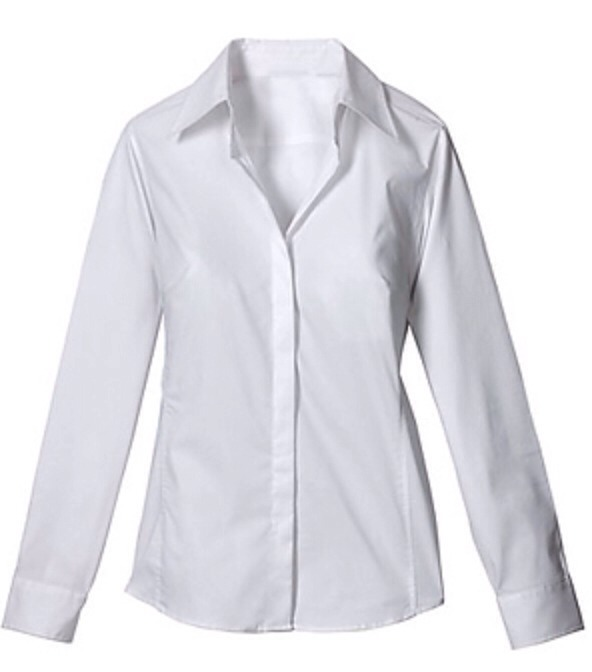 A white button down can be great with scarves or a colored shirt underneath. A nice form-fitting one can look good all by itself, too.