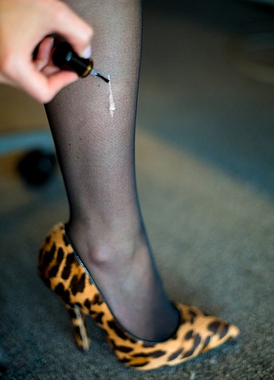 2. Prevent a run in your stockings from getting worse with clear nail polish. As it hardens, it will help stop the run in its tracks.