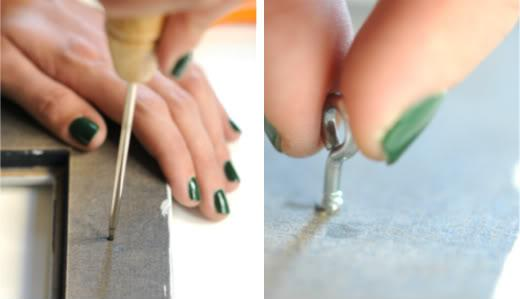 3. Use the ice pick to create a small hole. 4. Twist the screw eye into the hole until it's in place