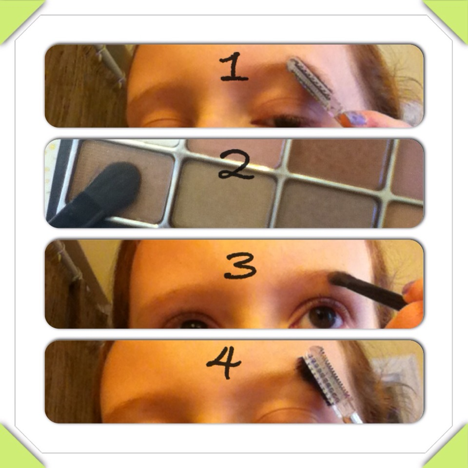 Brush eyebrows with eyebrow brush. Lightly fill in eyebrows with a slightly darker color powder or eyeshadow . Brush eyebrows to spread the powder evenly.