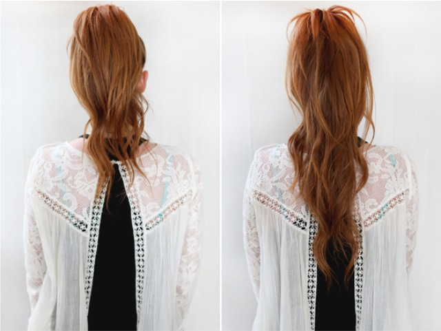 Add volume by gently teasing and the blend with the two ponytails together with your hands or a brush. The finished result you then have a longer bouncier pony!
