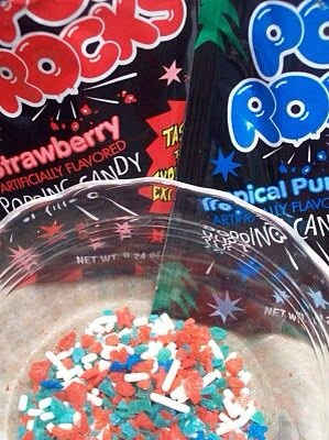 Mix poprocks with sprinkles for a yummy firecracker frosting on cupcakes or cookies. Perfect for 4th of July!