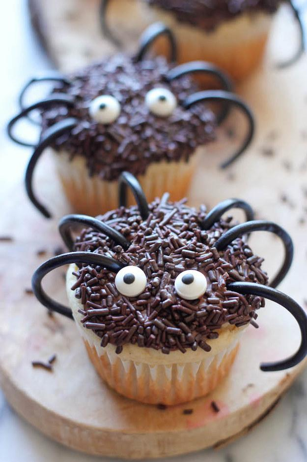 Recipe:  http://damndelicious.net/2013/10/22/halloween-spider-cupcakes/