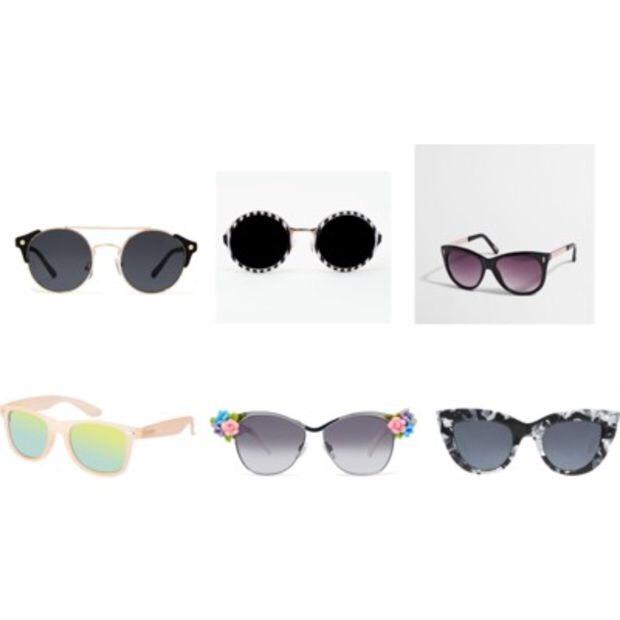 Clockwise from top left: Nasty Gal Nita Shades,$20; Nasty Gal Dizzy Shades,$20; J. Crew Cat Eye Sunglasses,$25; Asos Retro Sunglasses,$19; Asos Embellished Flower Retro Sunglasses,$34; Asos Flat Top Cat Eye Sunglasses,$23.
