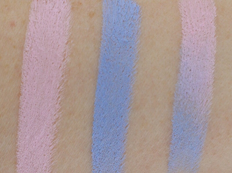 Again here are the swatches. I want to so you guys the colors mixed together. I love this color combo cuz it tones down the blue and the pink and the blue are perfect together.