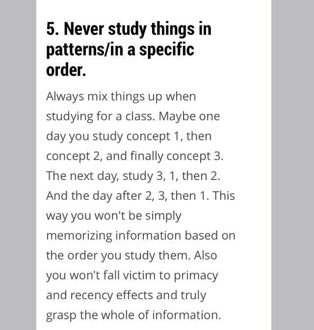 Mixing things up is in if you don't studying is boring or at least MORE boring 😉