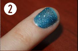 2.Apply your glitter polish or any polish