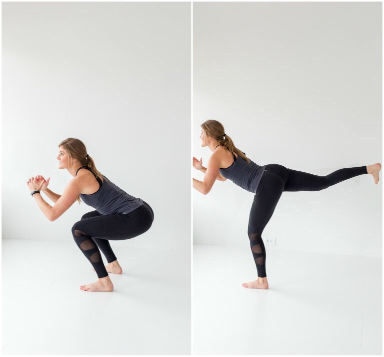 squat + donkey kick