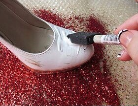 mix mod podge with glitter, then paint it on with a sponge OR smear jewel glue on, then glitter