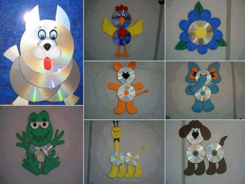 Make fun animals with your kids. Use CDs, some foam, and glue!