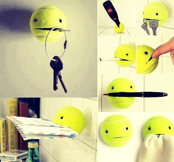You can cut a slit in a tennis ball, draw eyes on it, and hang it up on the wall! You can put things in it, so they don't get lost.
