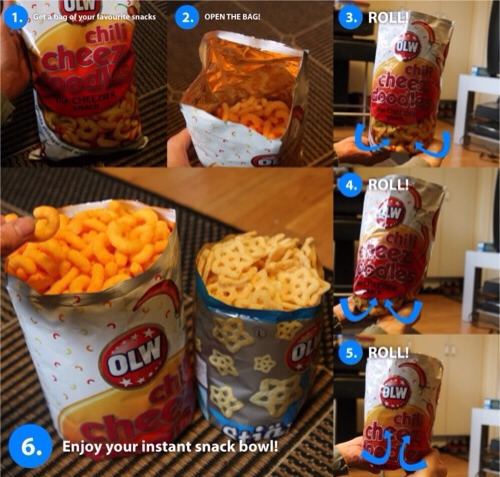 Roll up the bottom to create a snack bowl. You can now serve chips at parties without having to dirty yet another bowl.