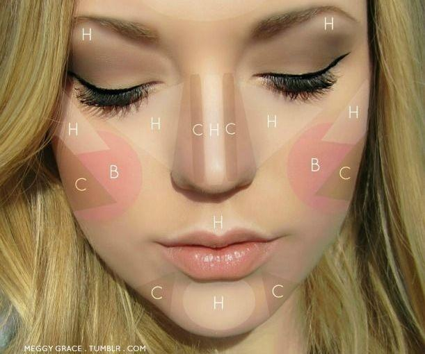 H=highlighter. B=blush C=bronzer How to Contour and look awesome!  <3 Please like and follow, I return the favor!