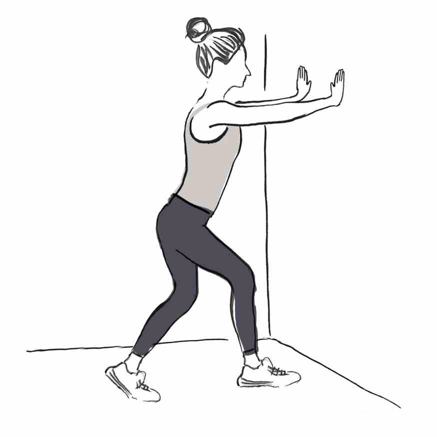 SHORT CALF In an extension from the long calf stretch, put all your body weight over the bent front leg. Make sure your knee is over your second biggest toe. Alternate legs.
