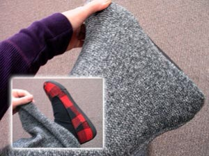 Make your own pattern by putting on shoes and sweater sleeve as you would wear them....