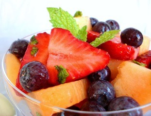 Minty Fruit Salad   http://www.food.com/recipe/sweet-melon-and-berry-toss-or-minty-fruit-salad-ww-305080