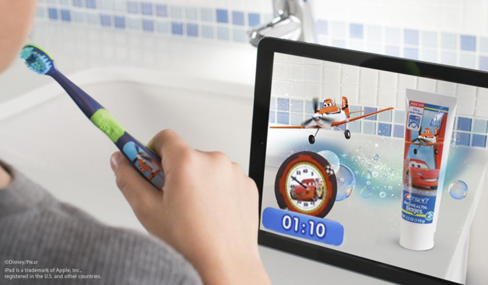 Dentists recommend that kids brush their teeth for a full two minutes, but kids often have other ideas! The Disney Magic Timer app by Oral-B makes those two minutes fly by!