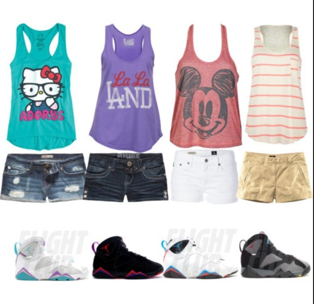 And what teenage girl don't like low-bootie shorts with their Js on along with a cute ting-top