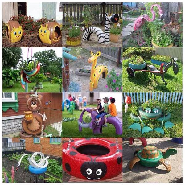 These are a perfect use for old tires! And can make your yard turn into a wonderland for children