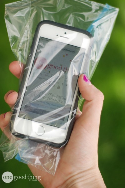 Put your phone in a plastic bag to keep water and/or sand out at the beach or pool!