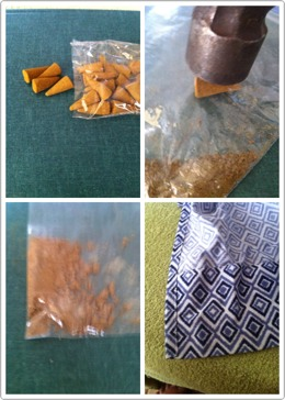 Dollar Tree Incense Cones Place 1-2 cones in small baggie Smash with hammer ( powdered or chunky ) it's up to you Fabric scrap - sew, hot glue together leaving an opening  Place your incense inside Sew or glue opening Attach a ribbon  Wala Cheap and smells good too.