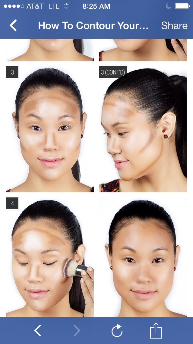 2.Using a blending brush with natural and syntheic bristles, blend the two shades on your face  3.Mark the areas you want to contour — the hollows under your cheekbones, your temples, along your hairline, jawline, the sides of your nose, the tip of the nose, and the crease of your eyes!