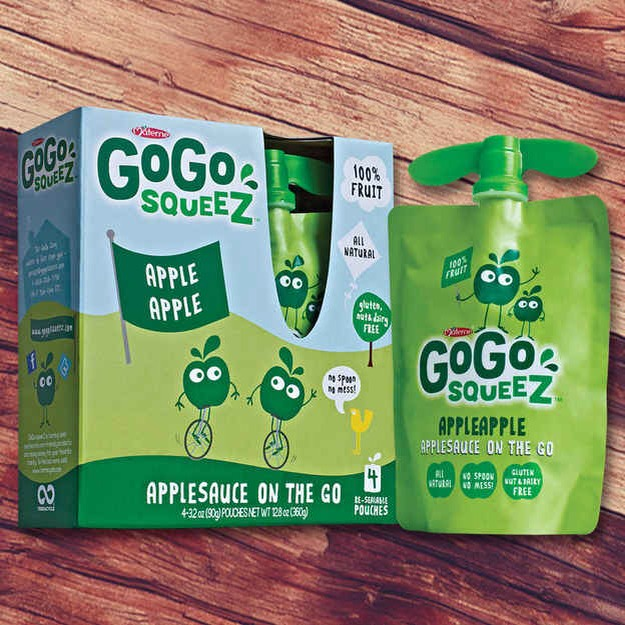 9. GoGo Squeez Applesauce On The Go pouches are yummy too. Pouch baby food brands like GoGo Squeez have actually started to court adults in addition to little ones, and why not? They're delicious, portable, and 100% natural.
