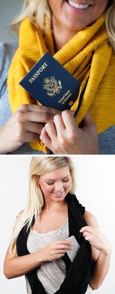1. Secret Stash Scarf: This unique scarf gives u the ability to go purse free! That, / hide valuable items while traveling like ur credit card, passport, boarding pass, cash, and other items that need to be kept safe. Personally. I'd use this secret stash scarf to store my lipgloss for easy access.