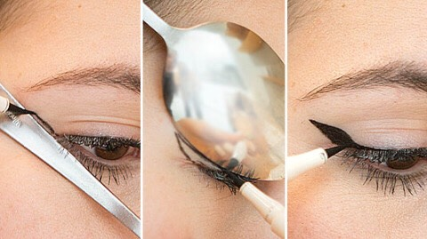 Use a spoon to create the perfect winged liner.   Holding the stem of a spoon against the outer corner of your eye, draw the straight line as the first step for your cat-eye. Then, flip the spoon so it's hugging your eyelid, and use the rounded outer edge to create a perfectly curved winged effect.