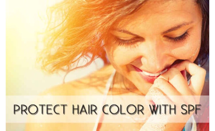 Or if you love your natural hair color and you want to avoid natural highlighting, spray SPF leave in conditioner in your hair before going out.