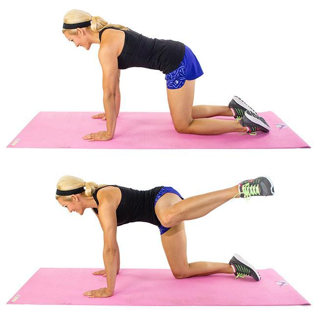 Fire hydrant :Start on your hands and knees then raise your right knee off the ground and bring it toward your chest, keeping your back flat Keeping your right knee bent raise your thigh out to the side without moving your hips Slowly lower back to start Do 20 then repeat on the other side.