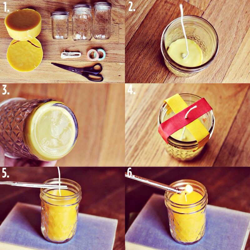 1. Supplies: beeswax, jars, candle wick, scissors, and masking tape. 2. Begin by heating up the wax on the stove in a pot to 140°F. You don't want the temperature to exceed 185°F. Pour a small layer into the base of a jar and place a piece of candle wick into the center of the jar.