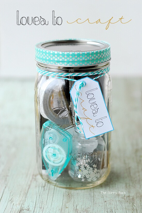 Fill it with glue and decorations for a person who loves to craft. Fill it with all things glittery and sparkly.