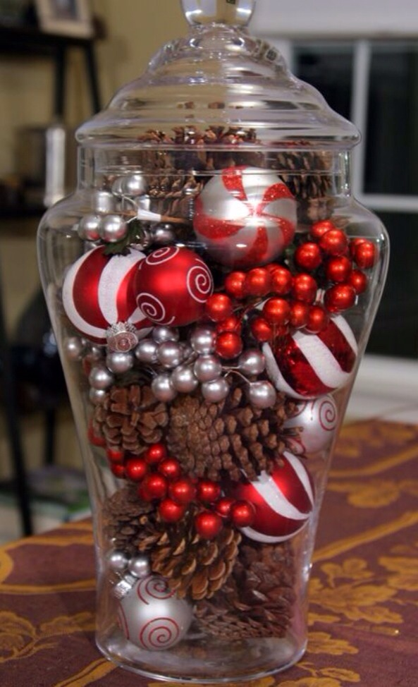 Create A Great Christmas Centerpiece With Some Ornaments And Pine Cones