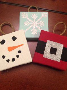 Make mini canvas ornaments