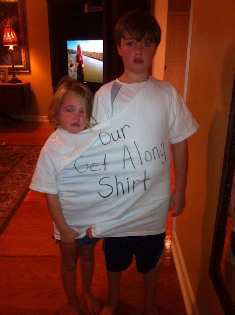 Punish fighting kids with a get along shirt