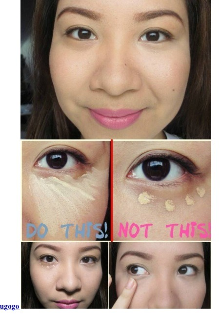 When applying concealer under the eye, try applying it in a triangular shape instead of dotting patterns under your eyes. This technique will perfectly cover up any dark circles and bags under your eyes.