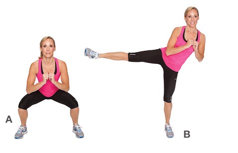 squats with side kicks : 50 , 50 each leg 🎀