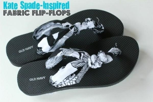 Make your flip flops comfy by adding fabric.