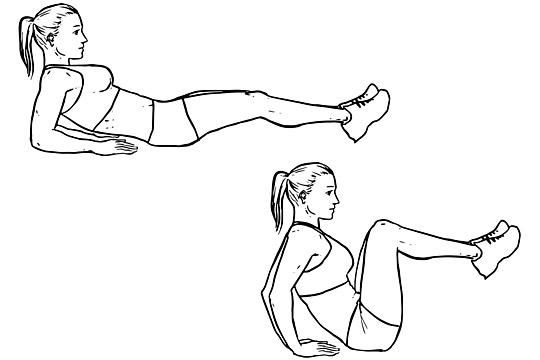 Leg Pull-In Knee-up – 3 sets 15 reps