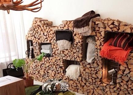 Firewood Storage  With a few crates and a lot of firewood, you can make a beautiful and useful storage area for oddities and your fire wood!