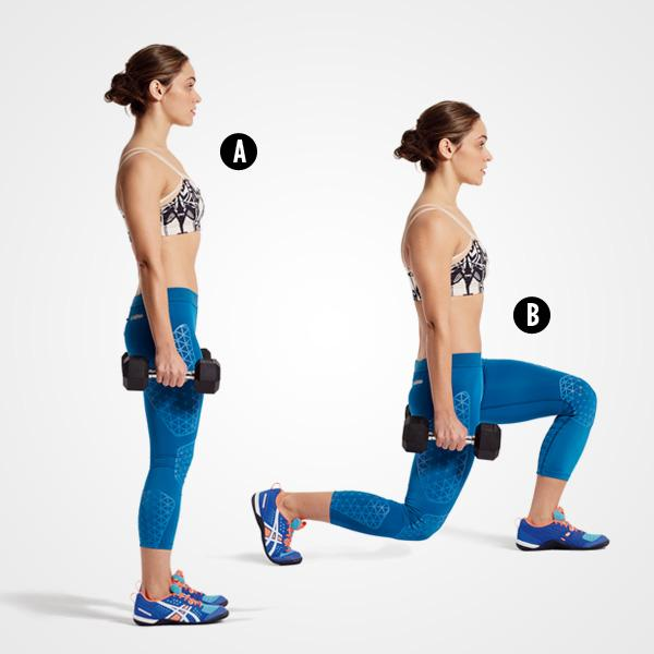 MOVE 2Reverse Lunge Stand with your feet hip-width apart and hold a dumbbell in each hand at your sides (A). Step back with your right leg and bend both knees as you lower until your left knee is bent 90 degrees (B). Push through your left foot to stand, then repeat on the other side. That's 1 rep.