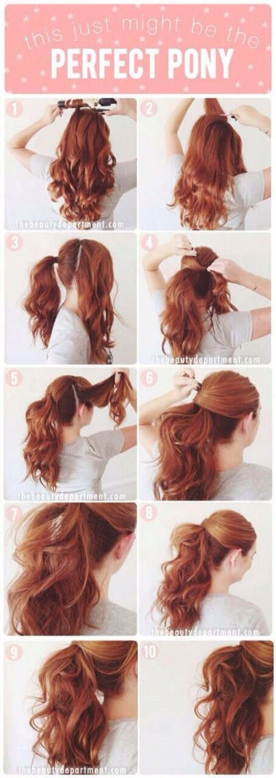 Start this style by curling your hair, then section off your top left and top right sections of hair and put the rest in a ponytail, then cross the left side over the ponytail and pin it under, after cross the right over and pin it under the ponytail.