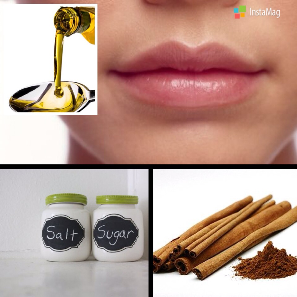 --> To make this all natural, effective lip polisher you will need the following ingredients from your pantry;  -> Olive Oil -> Salt or sugar -> Cinnamon