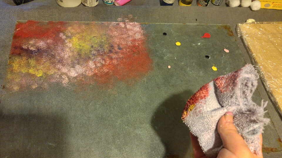 start dabbing the paint. you can use a sponge or a wash clot. make it to how you want it.