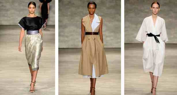 Obi belts  We consider this one of spring's most flattering trends. Tie a thick ribbon or obi belt around your waist to pull together and finish off your look. Master this Asian influence, and reap the benefits of a slim silhouette.