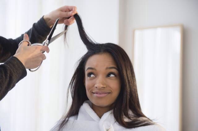 Trim your hair as needed (approximately every 4-6 months) to get rid of straggly ends and keep you hair looking healthy!