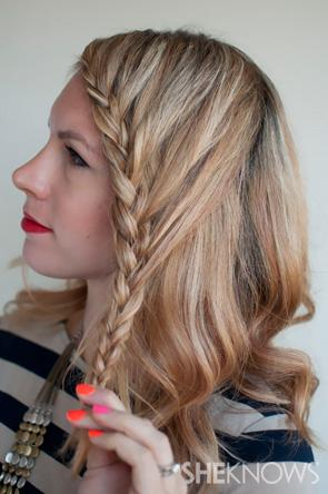 Continue braiding in a regular braid and secure the end with a small clear elastic.